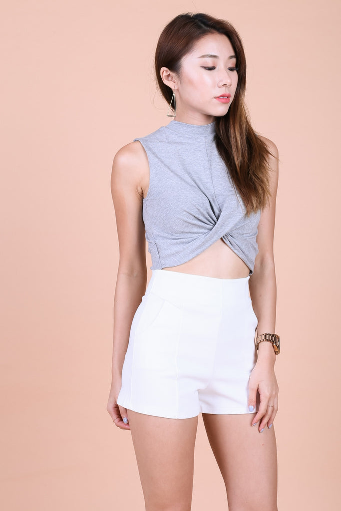 *BACKORDER* WRAP TWISTED CROP TOP IN LIGHT GREY - TOPAZETTE