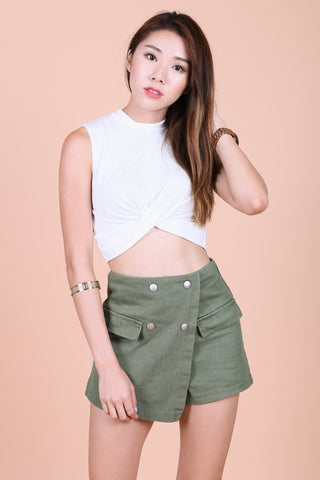 *BACKORDER* WRAP TWISTED CROP TOP IN WHITE - TOPAZETTE