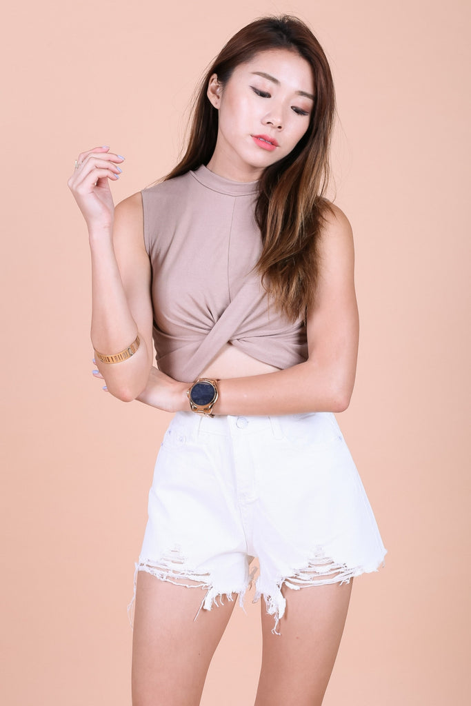 WRAP TWISTED CROP TOP IN TAUPE - TOPAZETTE