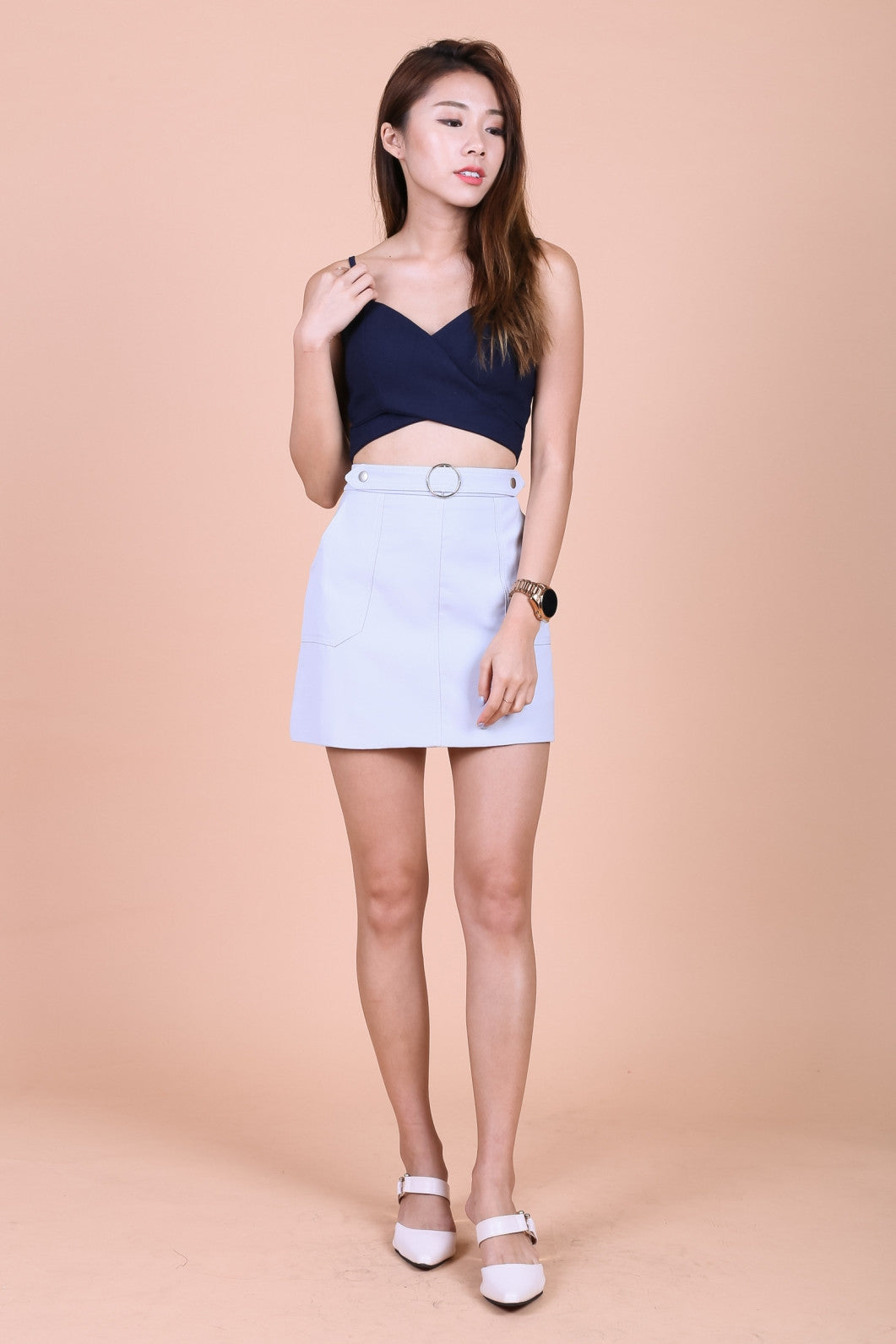 MILA RING SKIRT IN GREY - TOPAZETTE