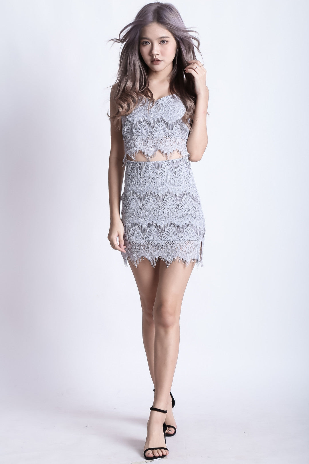 (RESTOCKED) TIARA LACE TOP IN GREY - TOPAZETTE