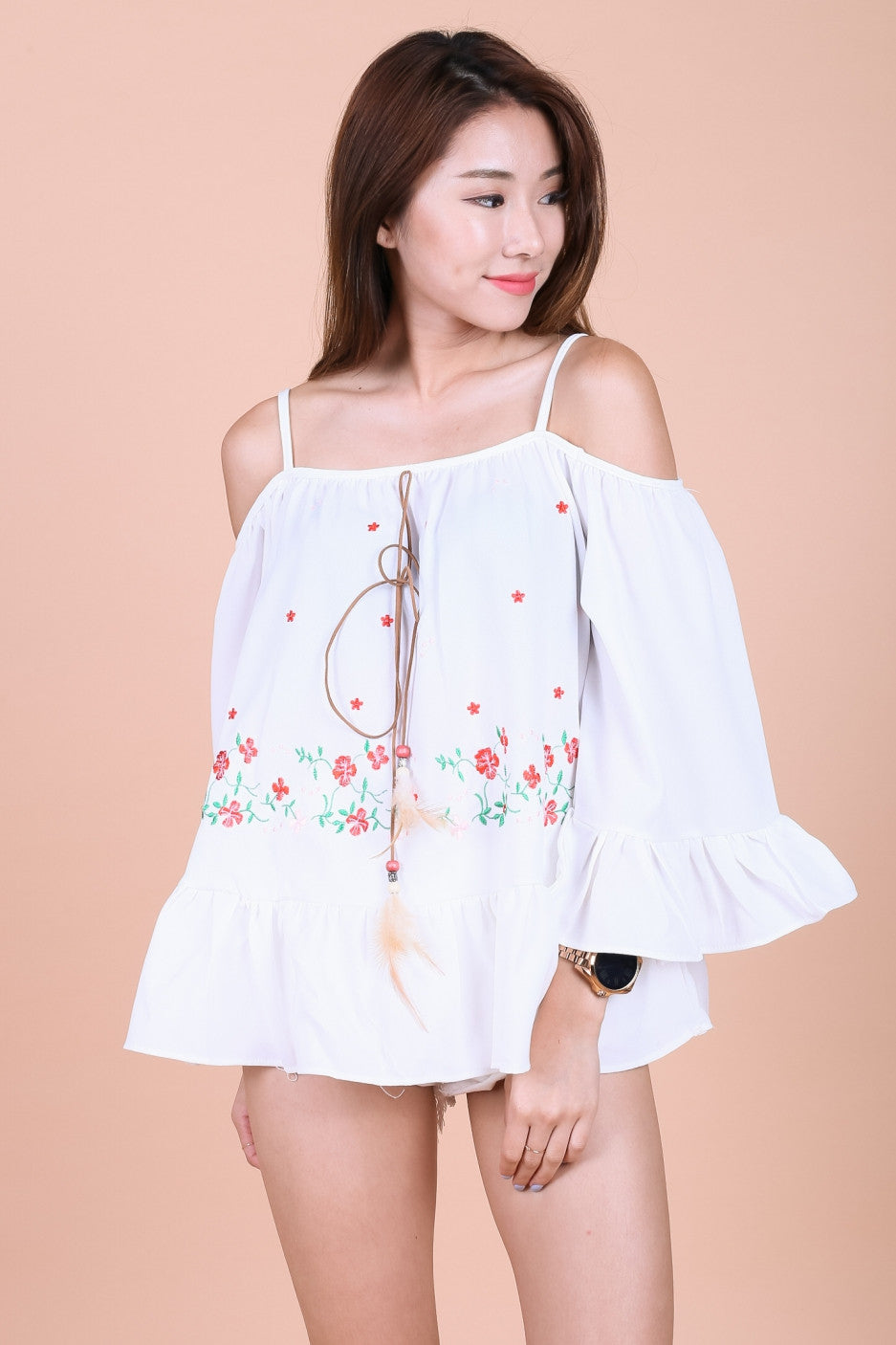 FLORAL EMBROIDERY BABYDOLL TOP IN WHITE - TOPAZETTE