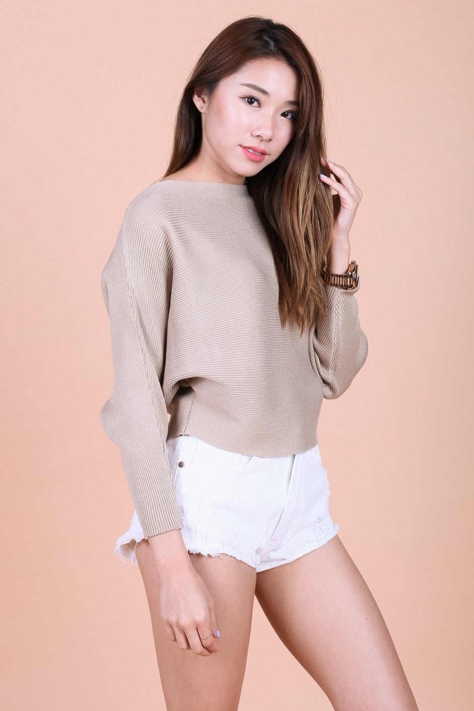 KIN SLOUCH KNIT TOP IN TAUPE - TOPAZETTE
