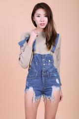 *RESTOCKED* DOWNTOWN RIPPED DENIM DUNGAREE (MIDWASH) - TOPAZETTE