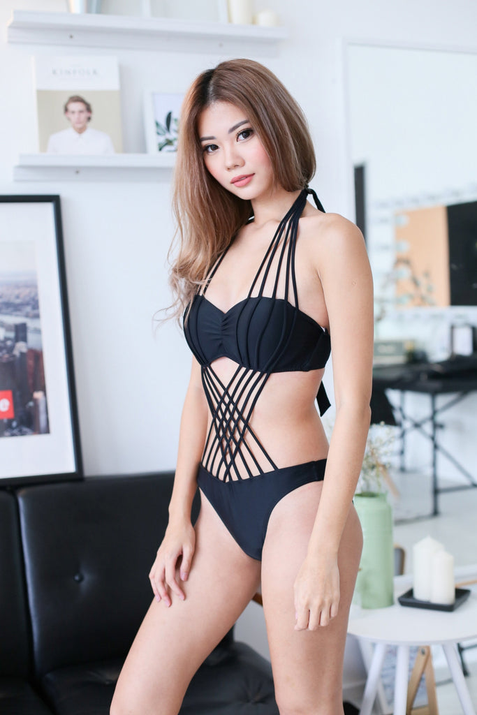 STRAPPY MONOKINI (BLACK) - TOPAZETTE