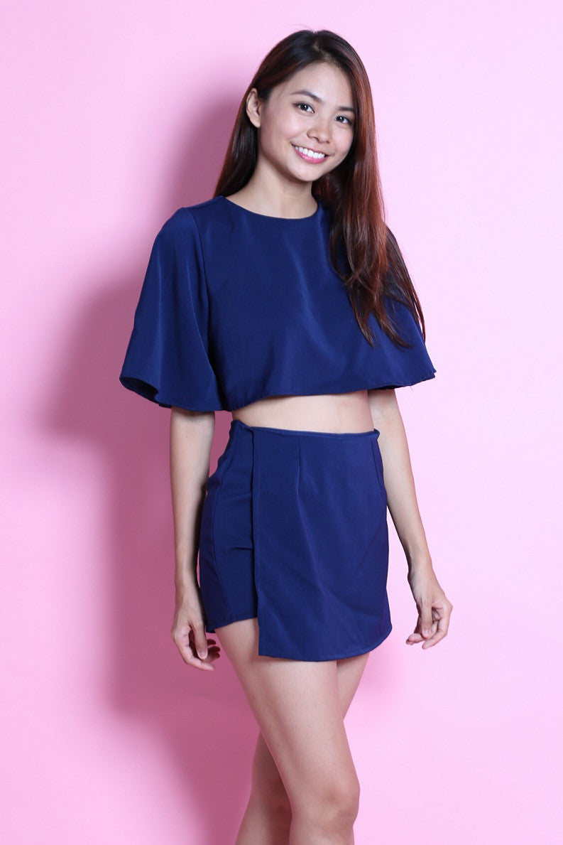FLUTTER CROP + MONTIGO SKORTS SET IN NAVY