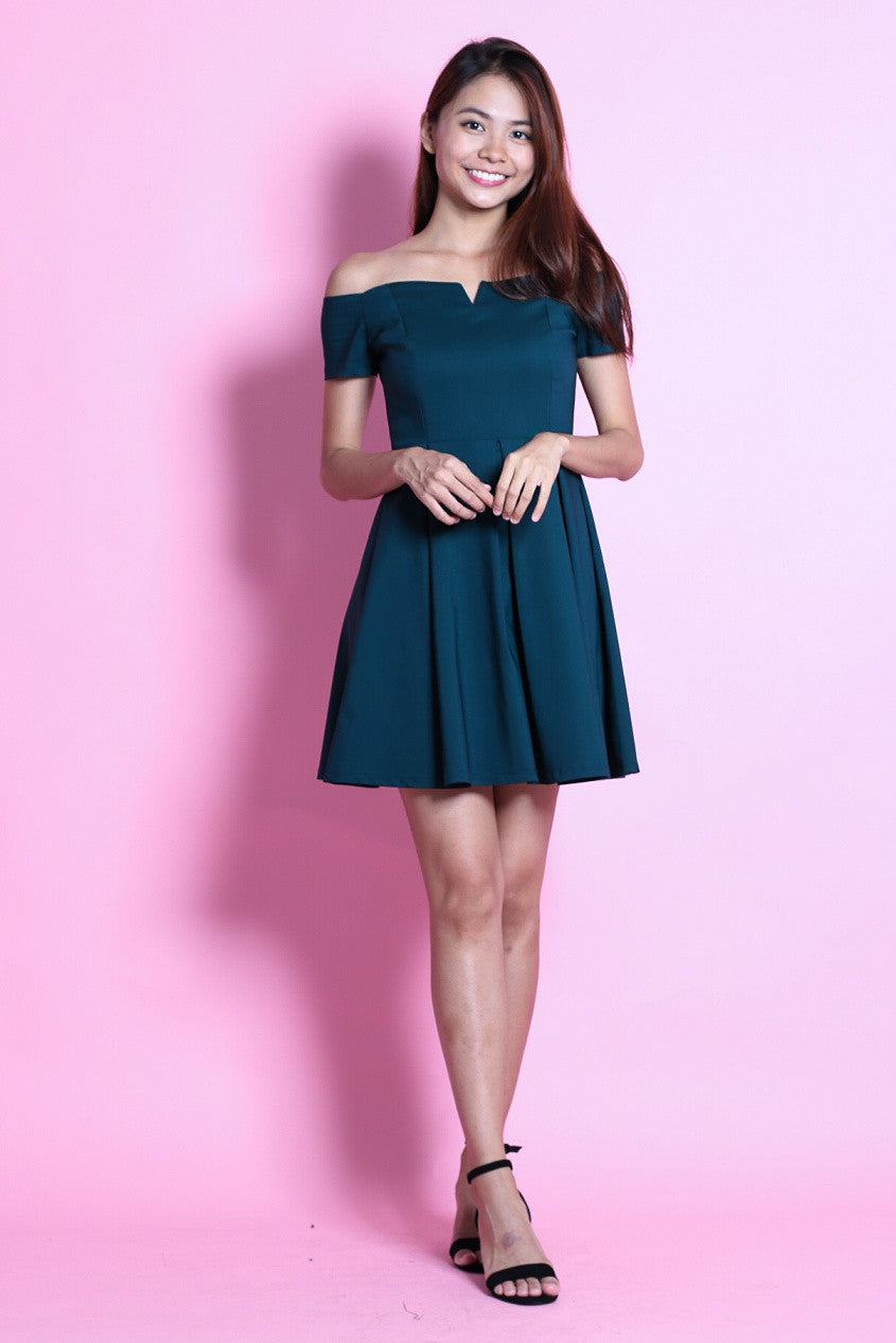 #MADEBYTPZ (PREMIUM) GRECIAN SKATER DRESS IN TEAL - TOPAZETTE