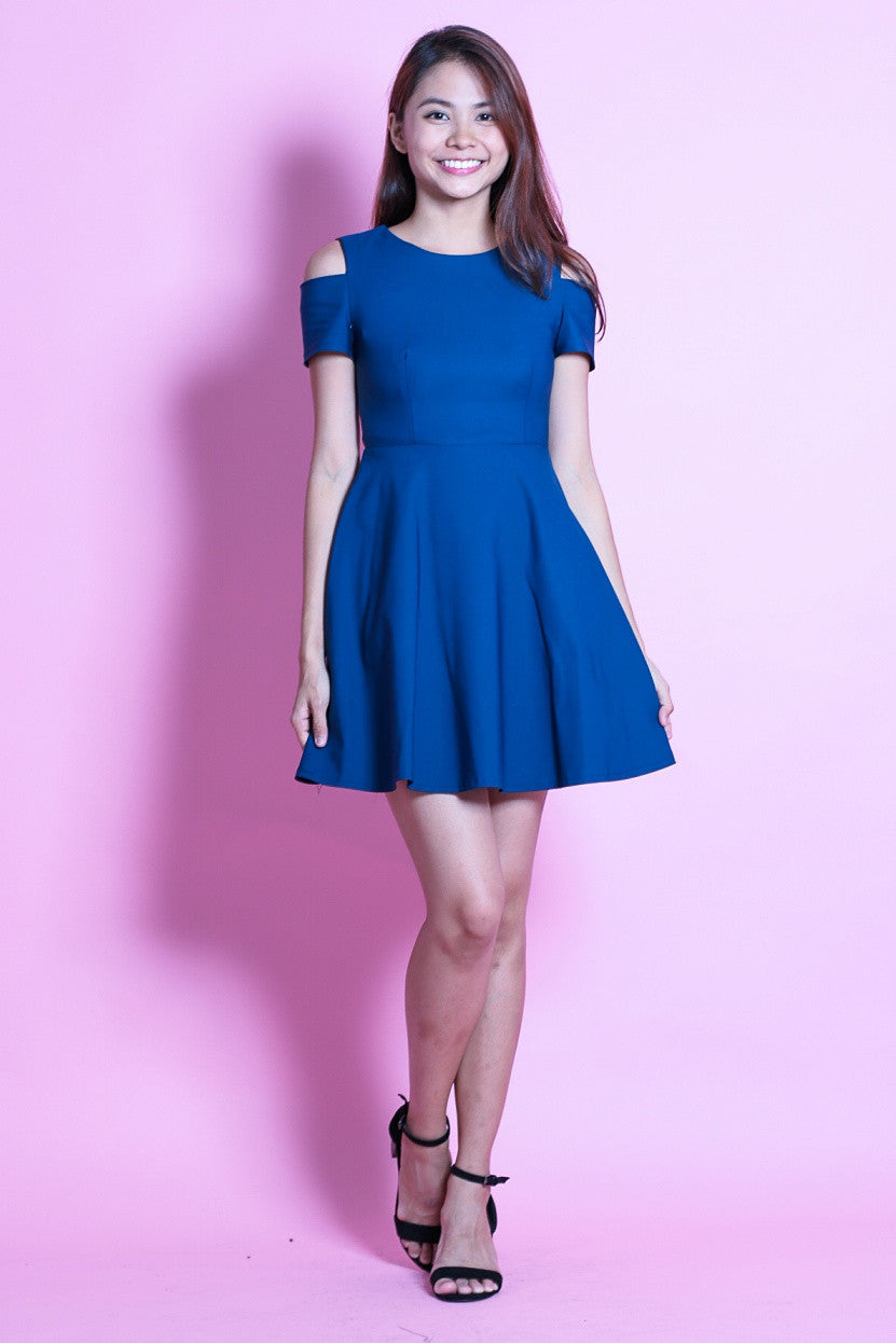 RESTOCKED - (PREMIUM) DAY TO NIGHT SKATER DRESS IN EMERALD BLUE