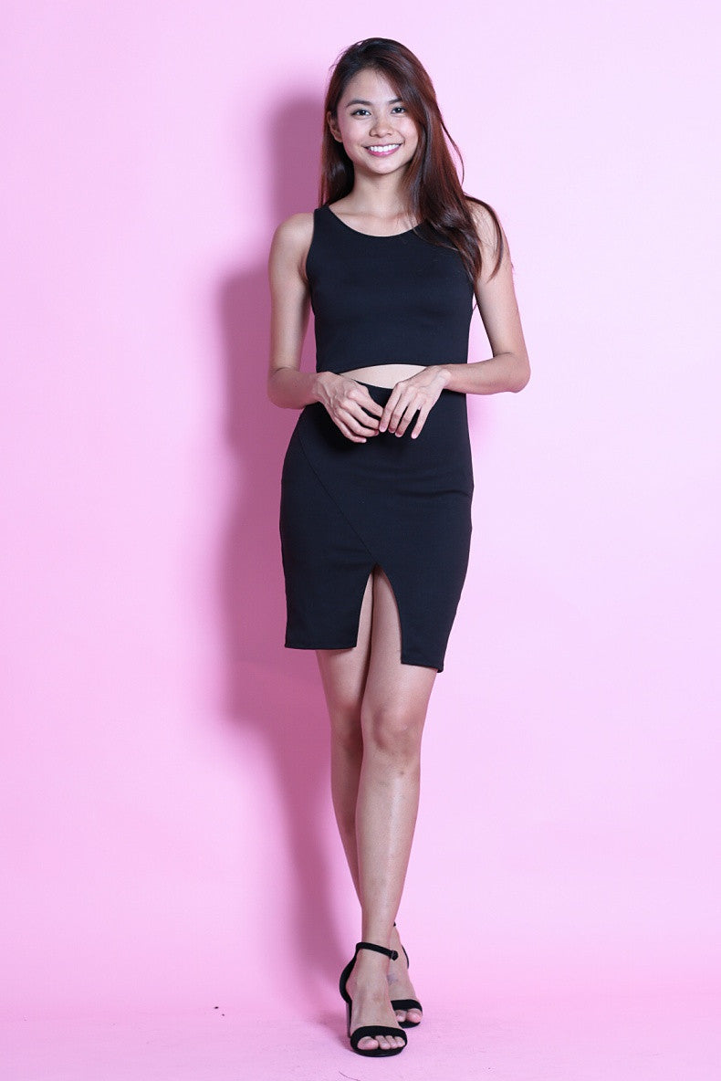 CARA CUT OUT BODYCON DRESS IN BLACK - TOPAZETTE