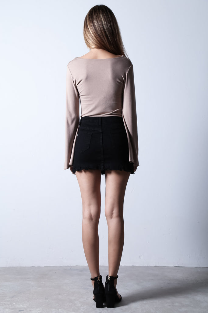 *RESTOCKED* BREE BELL SLEEVES TOP IN TAUPE - TOPAZETTE