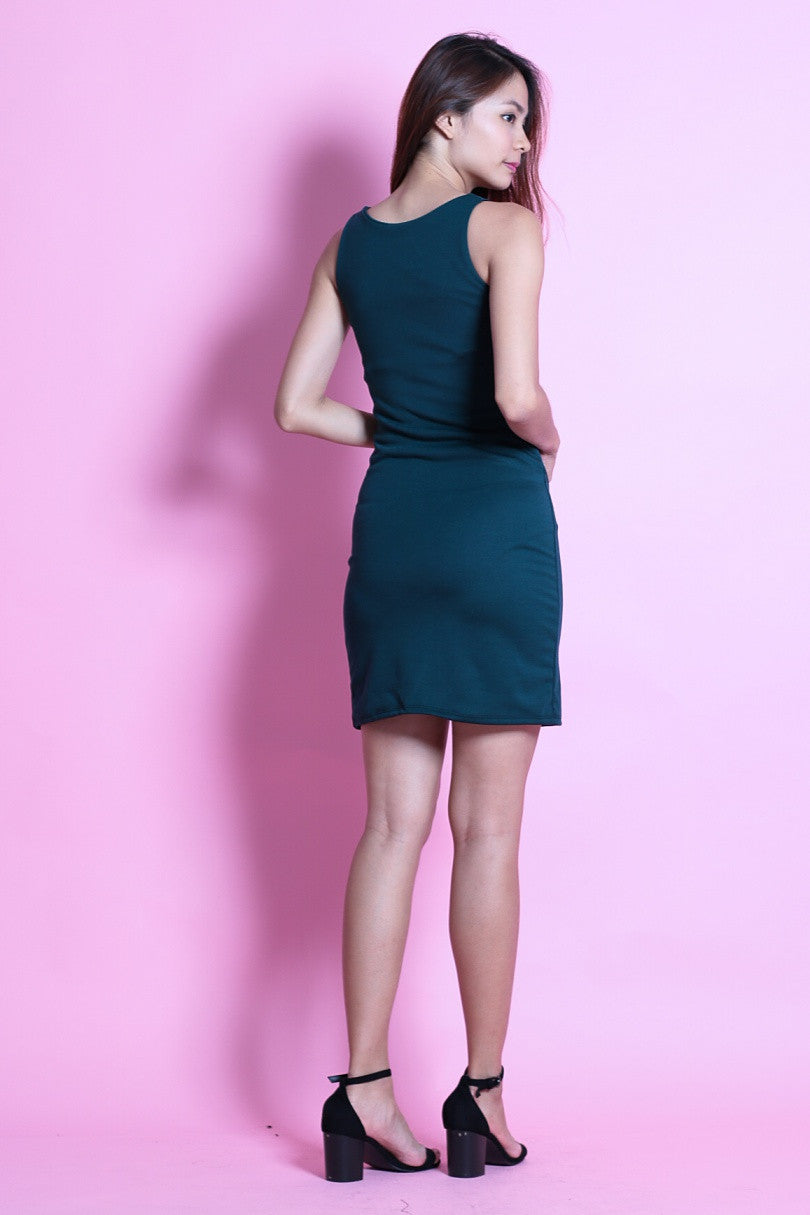 CARA CUT OUT BODYCON DRESS IN FOREST - TOPAZETTE