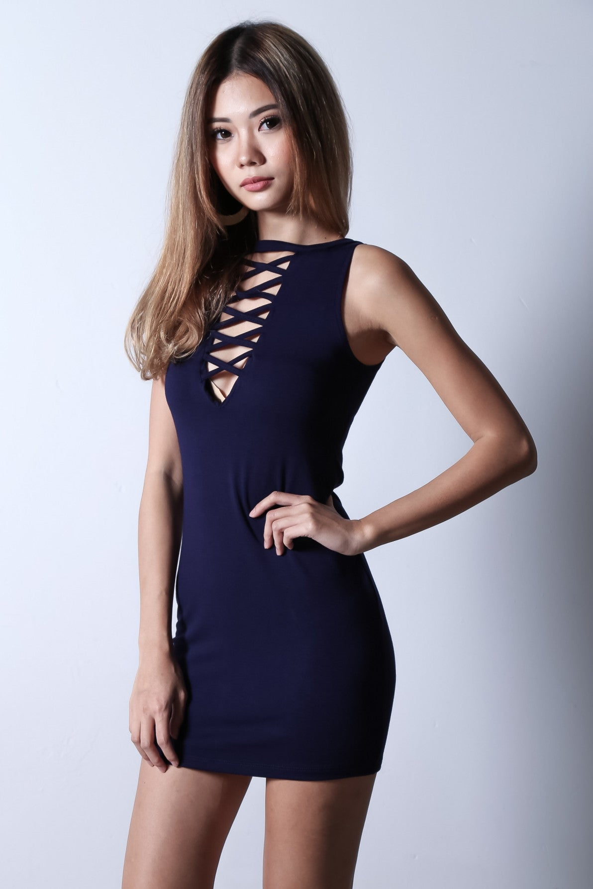 (RESTOCKED) REVERSIBLE CROSS LACES DRESS IN NAVY - TOPAZETTE