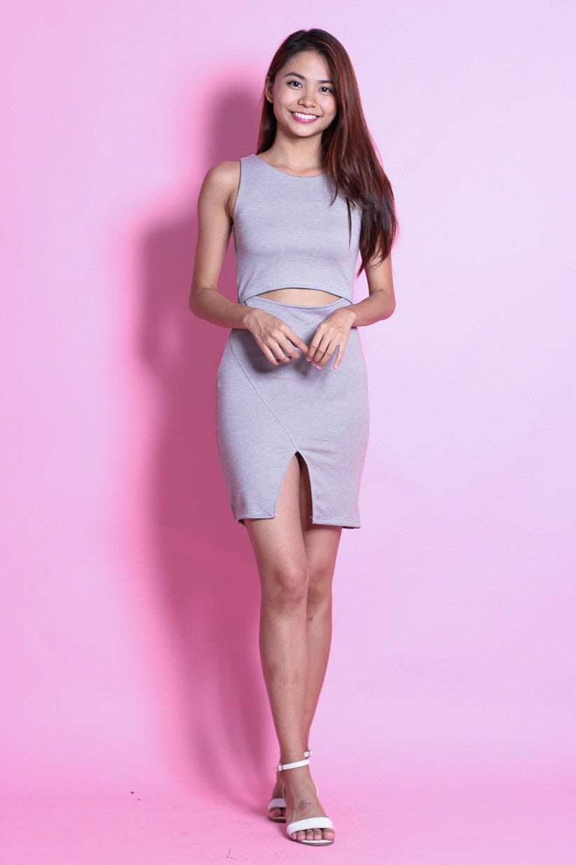CARA CUT OUT BODYCON DRESS IN GREY - TOPAZETTE