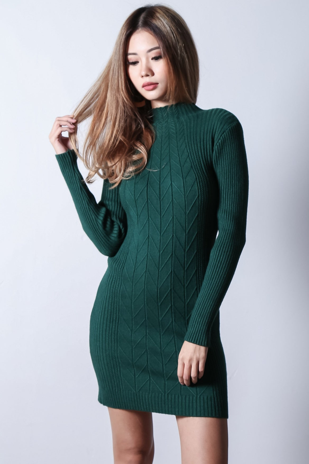 CELESTE CABLE KNIT DRESS IN FOREST - TOPAZETTE