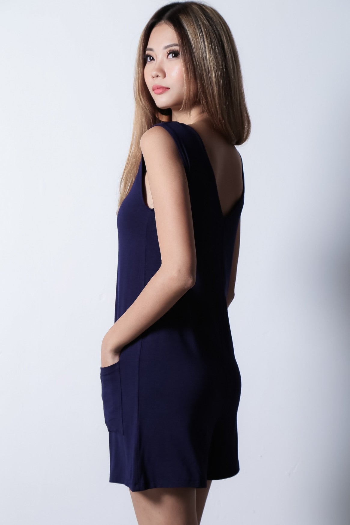 *BACKORDER* LAZY SUNDAY POCKET ROMPER IN NAVY - TOPAZETTE