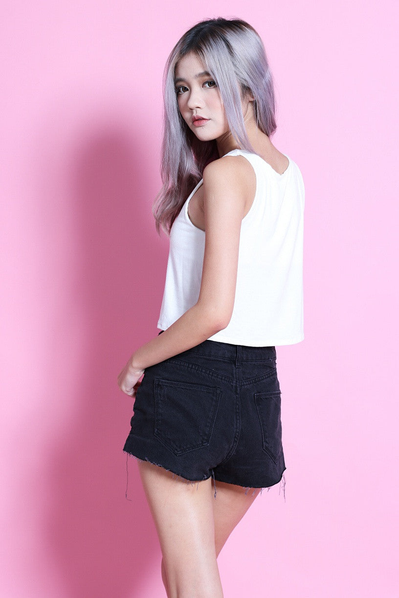 STAPLE COTTON CROP TOP IN WHITE