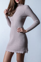KALE SCALLOP KNIT DRESS IN TAUPE - TOPAZETTE