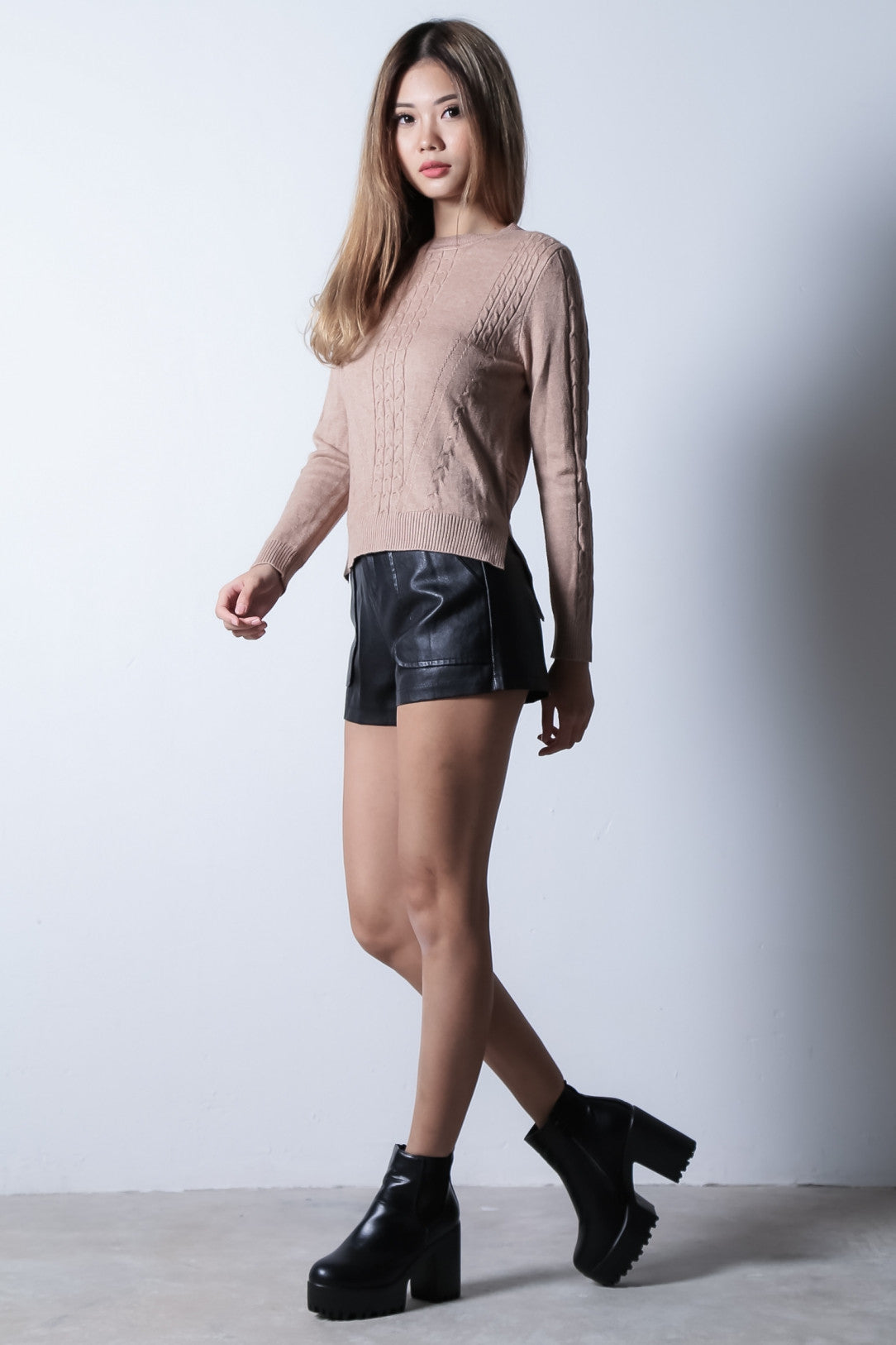 CABLE KNIT ASYMMETRICAL TOP IN TAUPE - TOPAZETTE