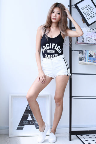 *RESTOCKED* CONTRAST TRIMS DENIM SHORTS IN WHITE - TOPAZETTE