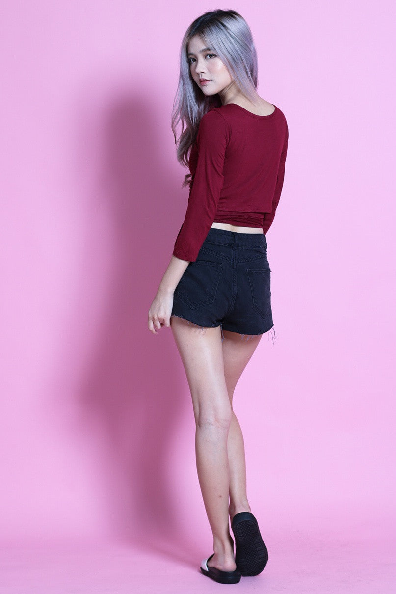 (RESTOCKED) WRAP AROUND TOP IN WINE - TOPAZETTE