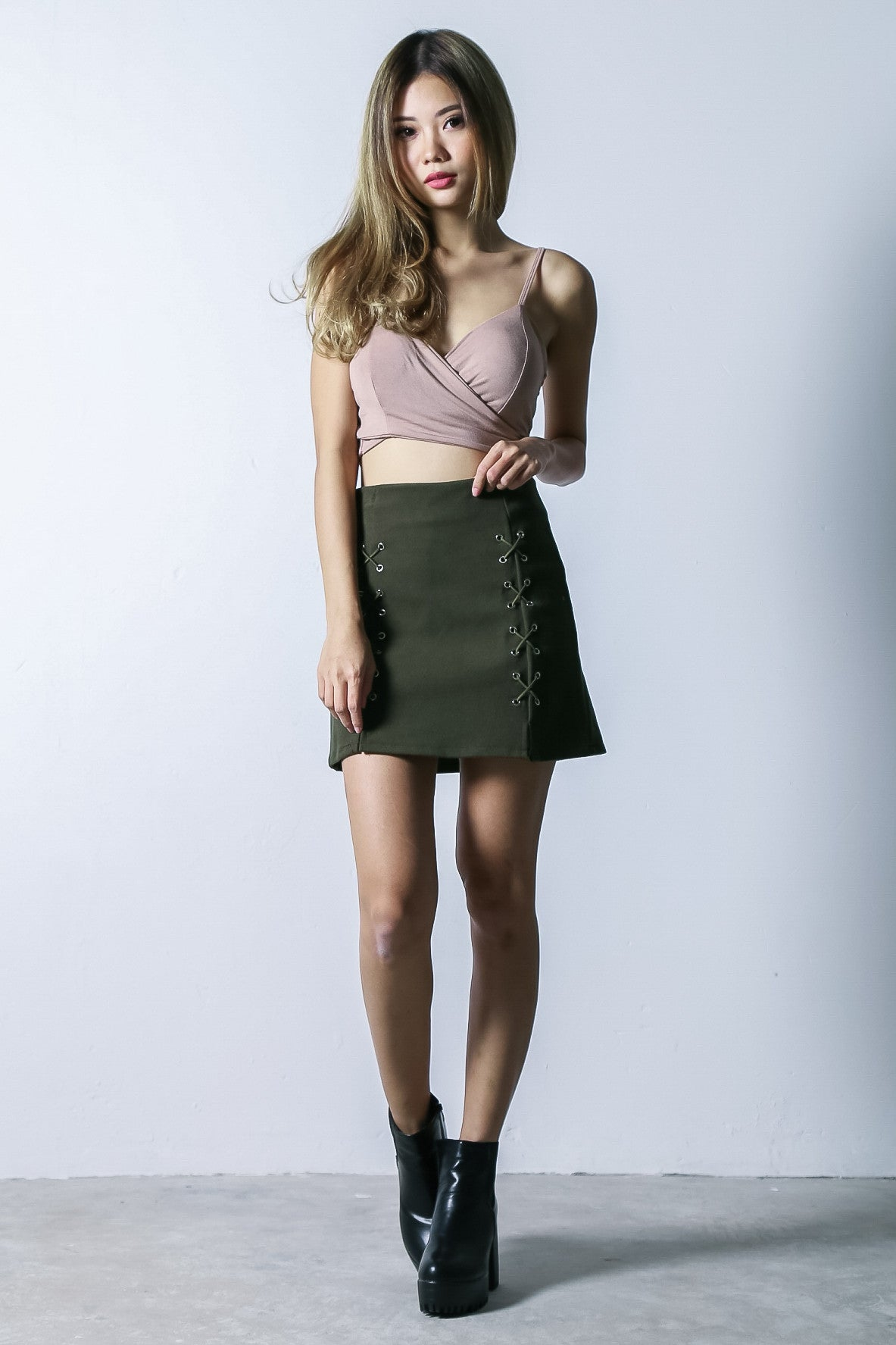 CROSS MY HEART SKORTS IN OLIVE - TOPAZETTE