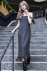 RIBBON OFFSIE MAXI IN GREY - TOPAZETTE