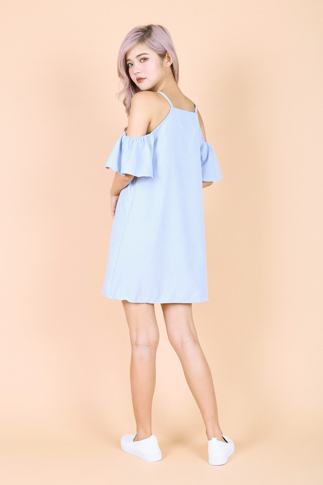 ARIELE FLUTTER COLD SHOULDER DRESS IN BABY BLUE - TOPAZETTE