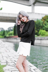 CABLE KNIT ASYMMETRICAL TOP IN BLACK - TOPAZETTE