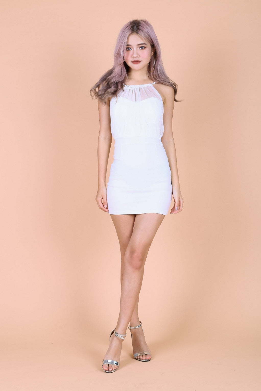 ALEXA MESH BODYCON DRESS IN WHITE - TOPAZETTE