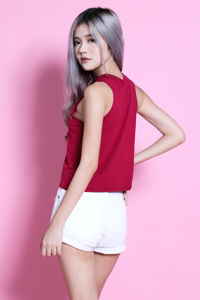 HIGH NECK COTTON TANK IN WINE