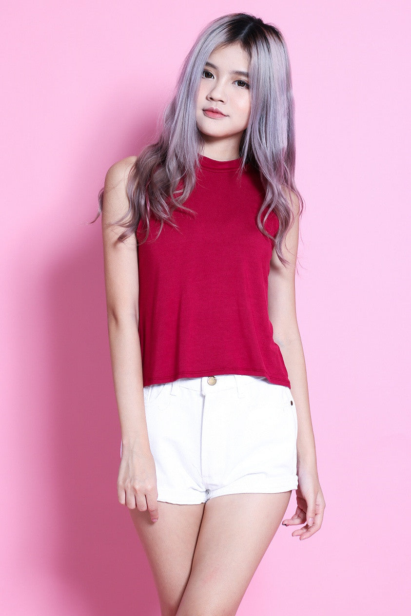 HIGH NECK COTTON TANK IN WINE - TOPAZETTE