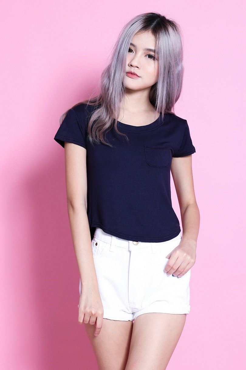 BASIC POCKET ROUND TOP IN NAVY - TOPAZETTE