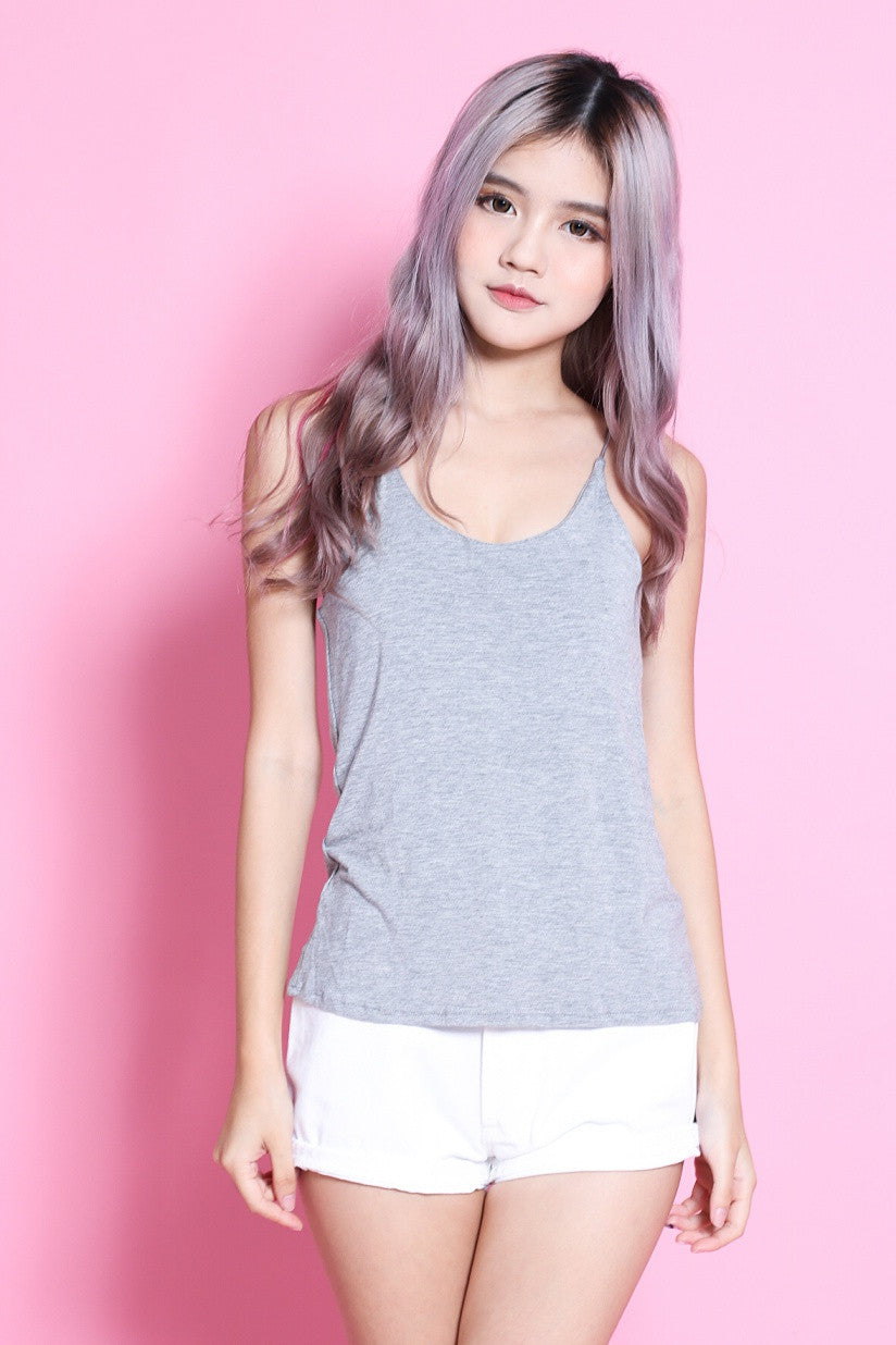 RACER BACK COTTON TOP IN GREY