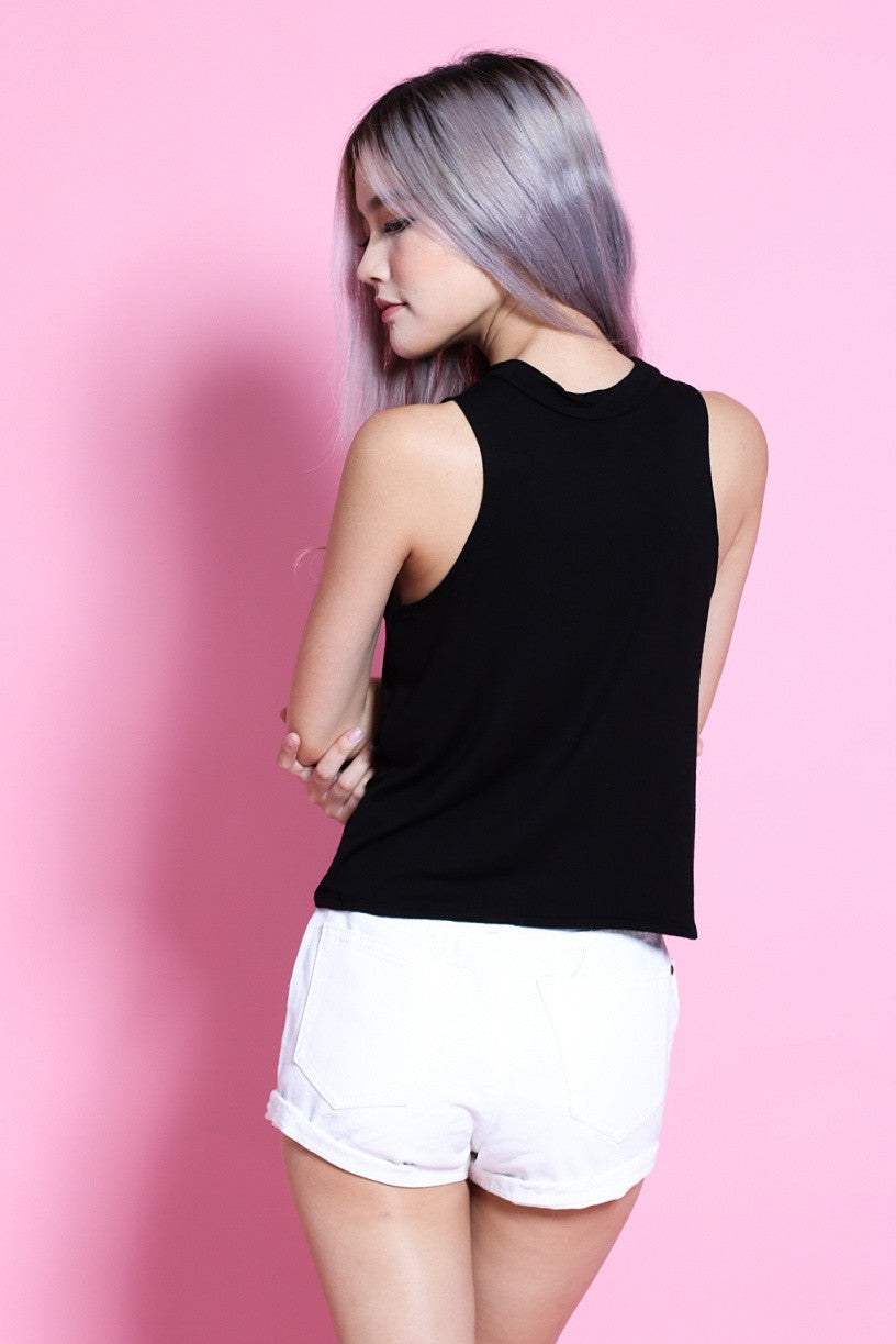 HIGH NECK COTTON TANK IN BLACK