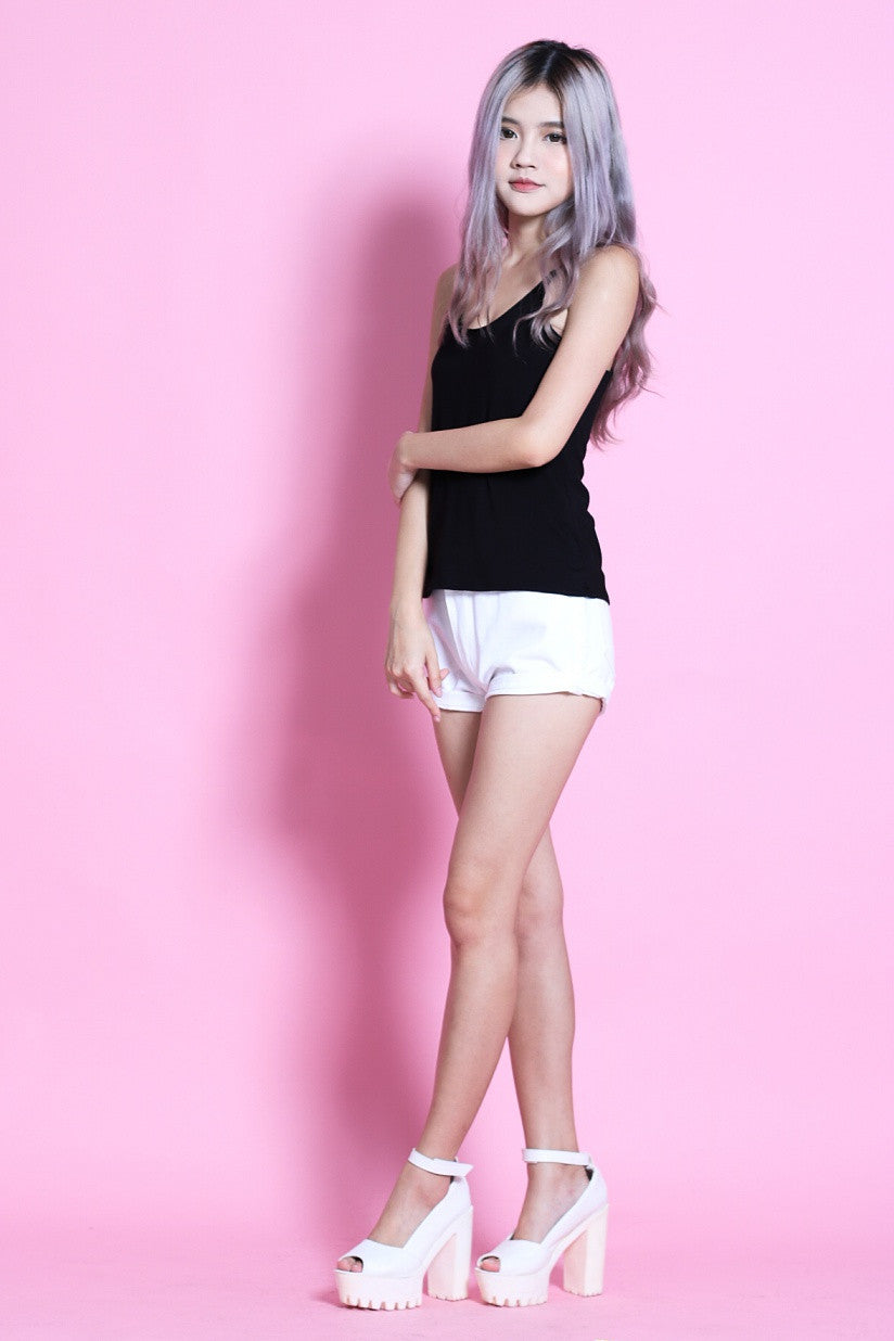 RACER BACK COTTON TOP IN BLACK