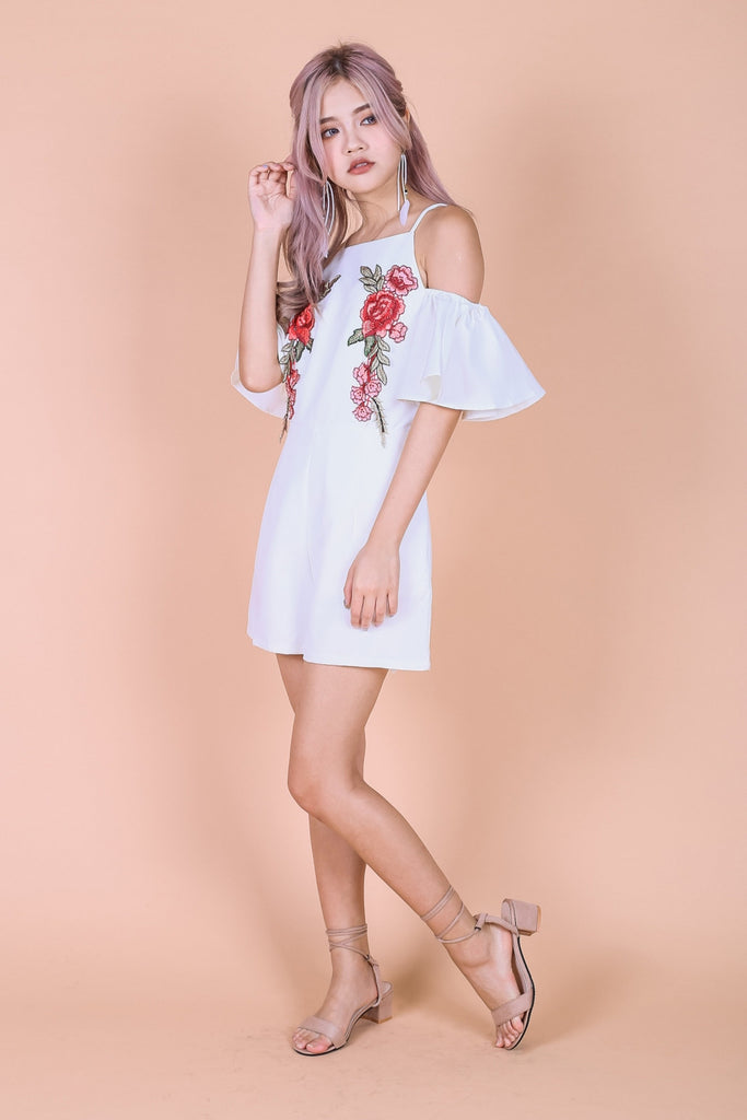 *TOPAZ* (PREMIUM) VITA ROSE EMBROIDERY COLD SHOULDER ROMPER IN WHITE - TOPAZETTE