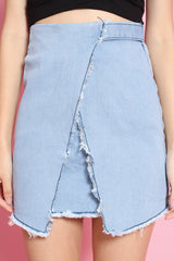 FRAYED DENIM SKIRT IN LIGHT BLUE - TOPAZETTE
