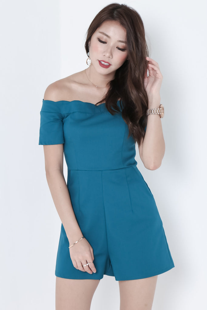 *TOPAZ* (PREMIUM) SCALLOP SWEETHEART ROMPER IN TEAL - TOPAZETTE