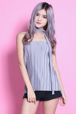LUXE OPHELIA PLEATED TUBE TOP IN GREY - TOPAZETTE