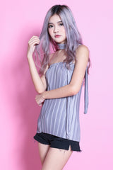 LUXE OPHELIA PLEATED TUBE TOP IN GREY