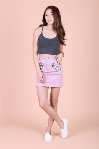 JUST THE RIGHT FLORAL DENIM SKIRT IN BLUSH