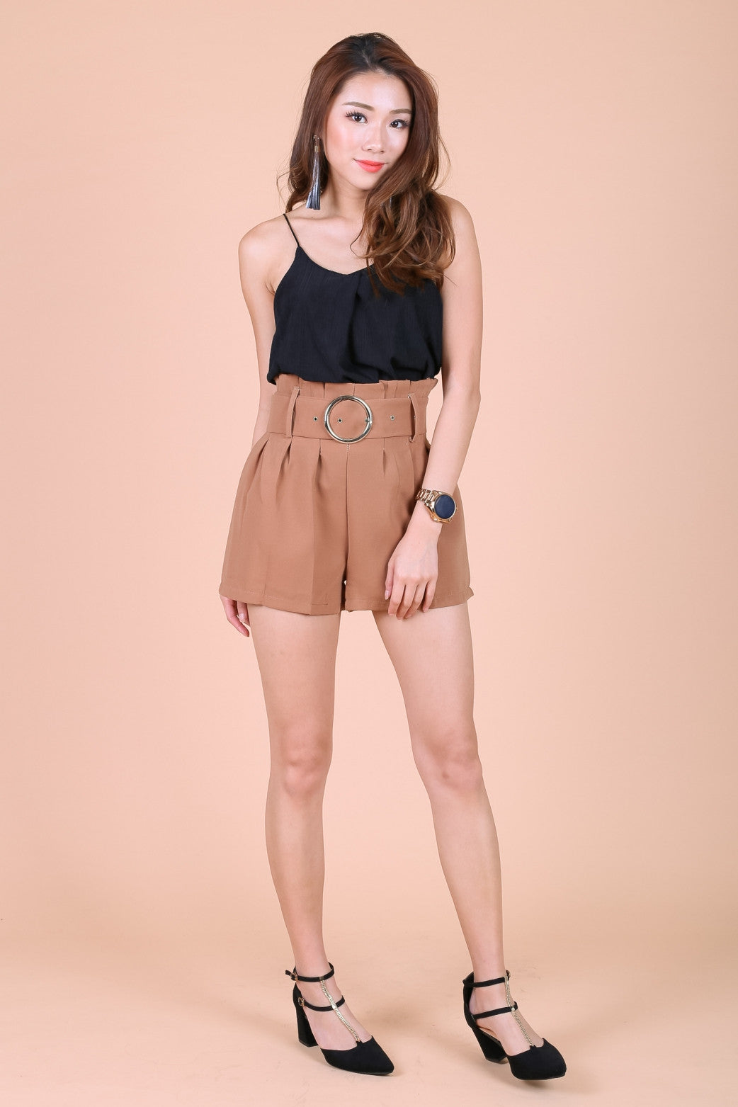 PAPERBAG SHORTS WITH BELT IN CAMEL