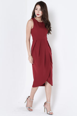 *BACKORDER* *TOPAZ* (PREMIUM) ARIES TULIP DRESS IN WINE - TOPAZETTE
