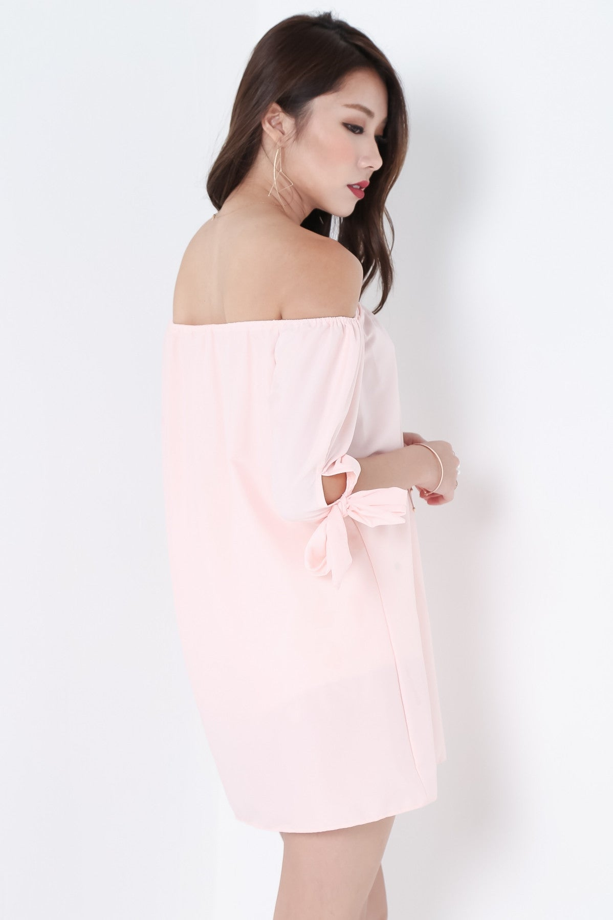 *RESTOCKED* ESTELLA RIBBON OFFSIE DRESS IN BLUSH - TOPAZETTE