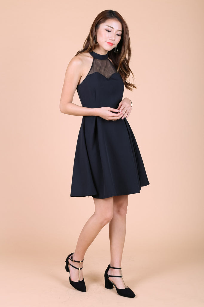 *TOPAZ* VERA SWEETHEART MESH DRESS IN BLACK - TOPAZETTE
