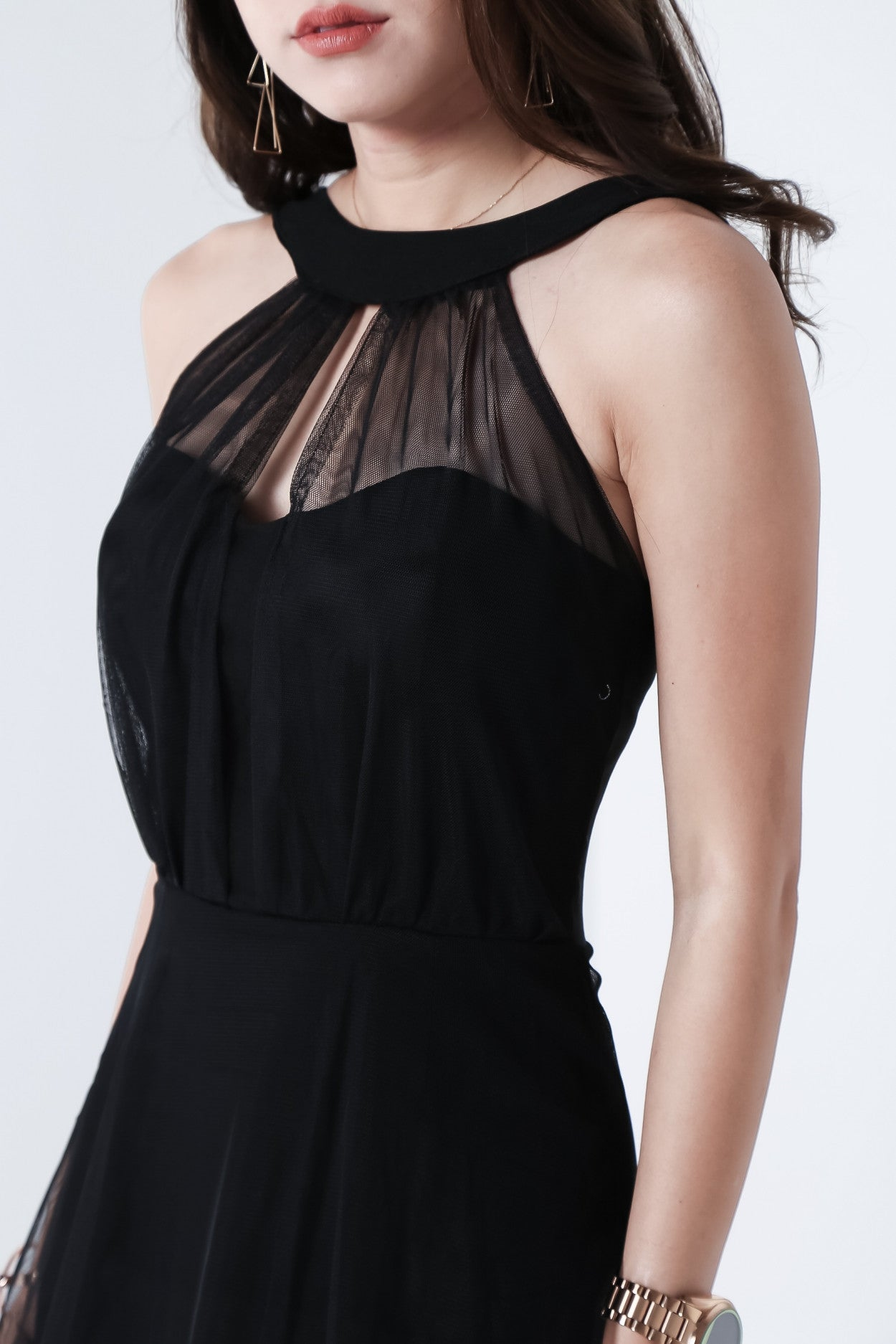 *BACKORDER* BELLTRIX MESH DRESS IN BLACK - TOPAZETTE