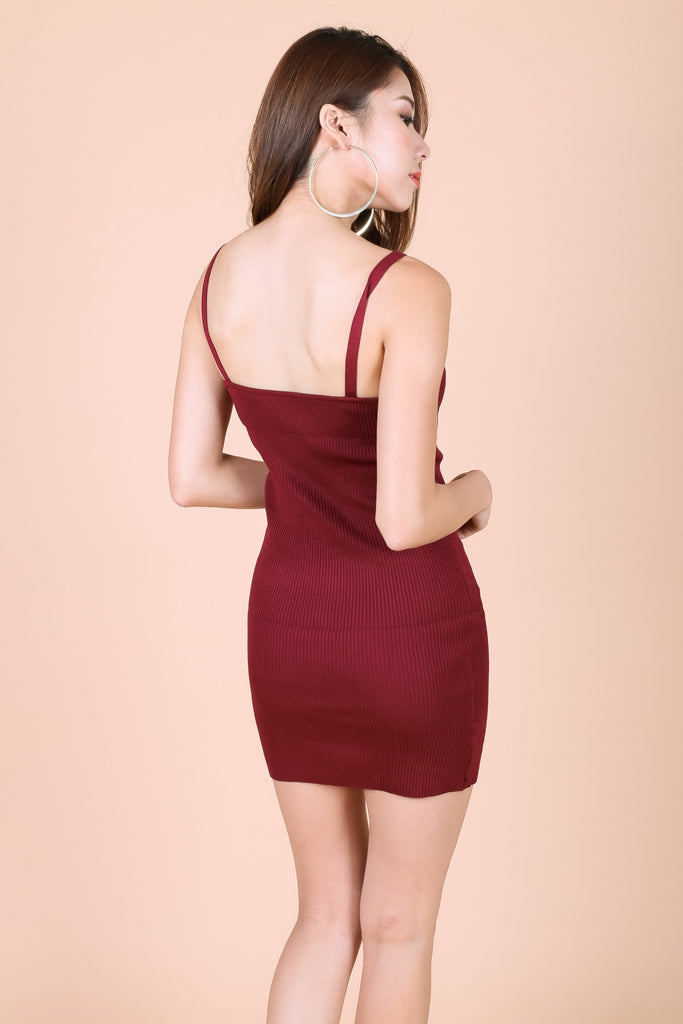 LACE TRIMS KNIT DRESS IN WINE - TOPAZETTE