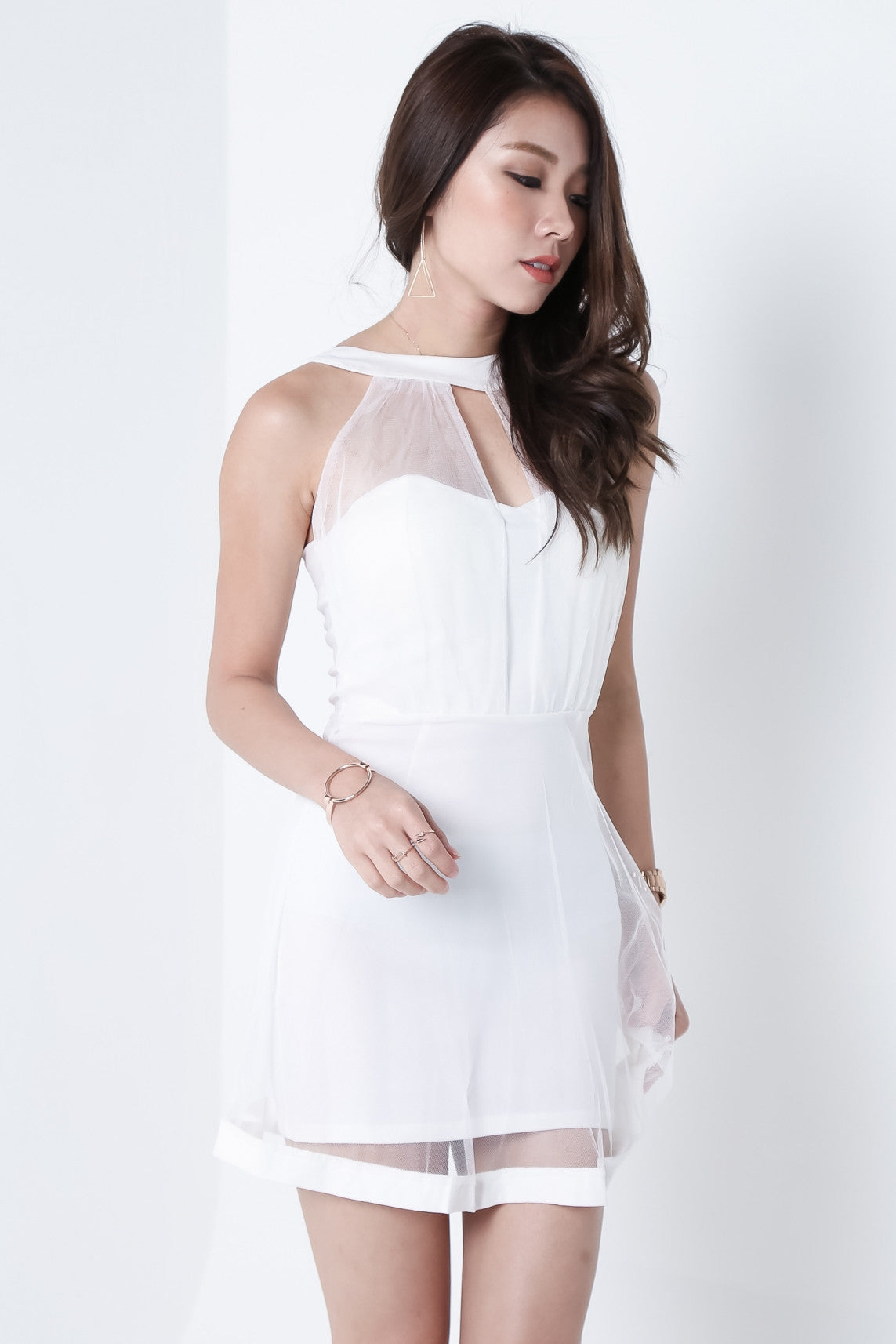 (RESTOCKED) BELLTRIX MESH DRESS IN WHITE - TOPAZETTE
