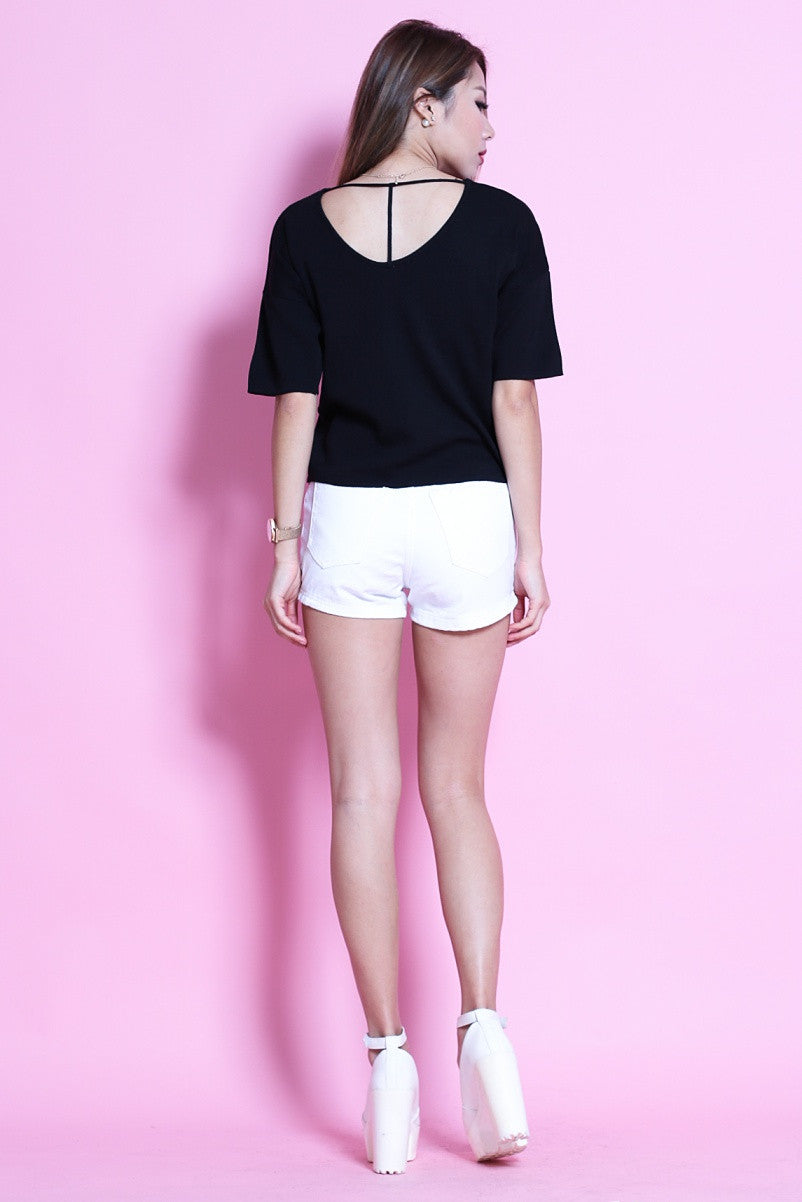 (RESTOCKED) T BACK KNIT TOP IN BLACK - TOPAZETTE