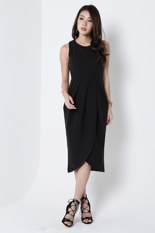 *TOPAZ* (PREMIUM) ARIES TULIP DRESS IN BLACK - TOPAZETTE